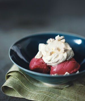 Raspberry Sorbet With Whipped Cream and Meringues