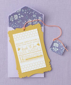modern bridal shower tea party invitation