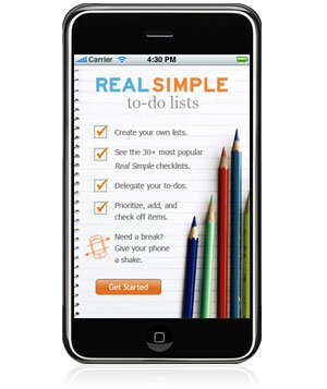 the real simple to do list iphone application instructions and