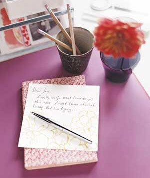 pen and half written letter next to a cup of pencils and a flower