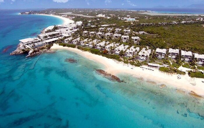 Aerial view of the Four Seasons Anguilla resort in the Caribbean
