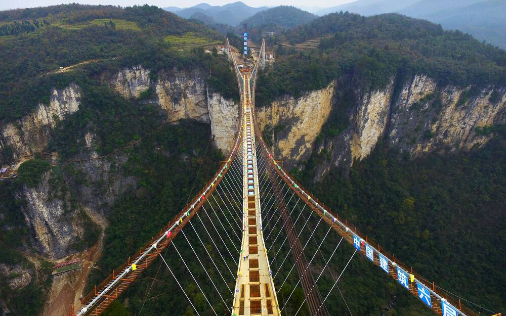 zhangjiajie china december 03 china out aerial view of the glass - Zhangjiajie Glass Bridge