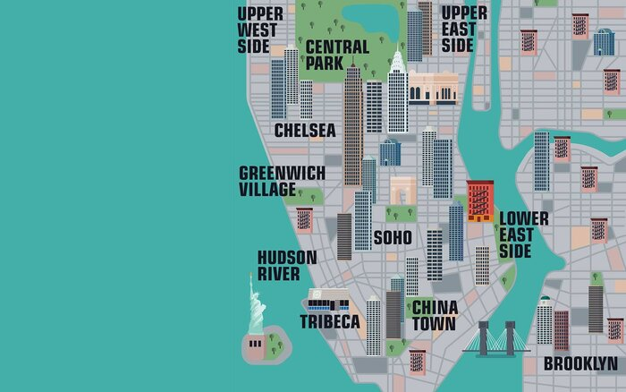 Explore thousands of new york city landmarks with this interactive illustrated map of manhattan new york city gumiabroncs Choice Image