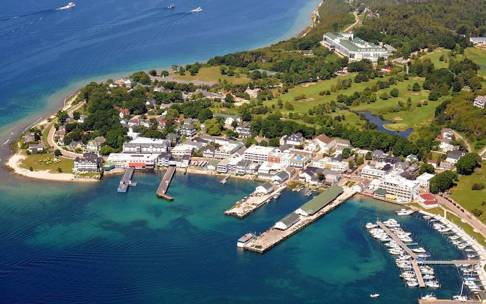 Aerial Mackinac Island Michigan