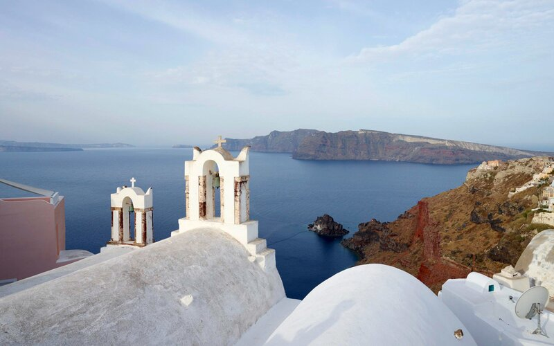 Belltower of chapel, Santorini, Greece