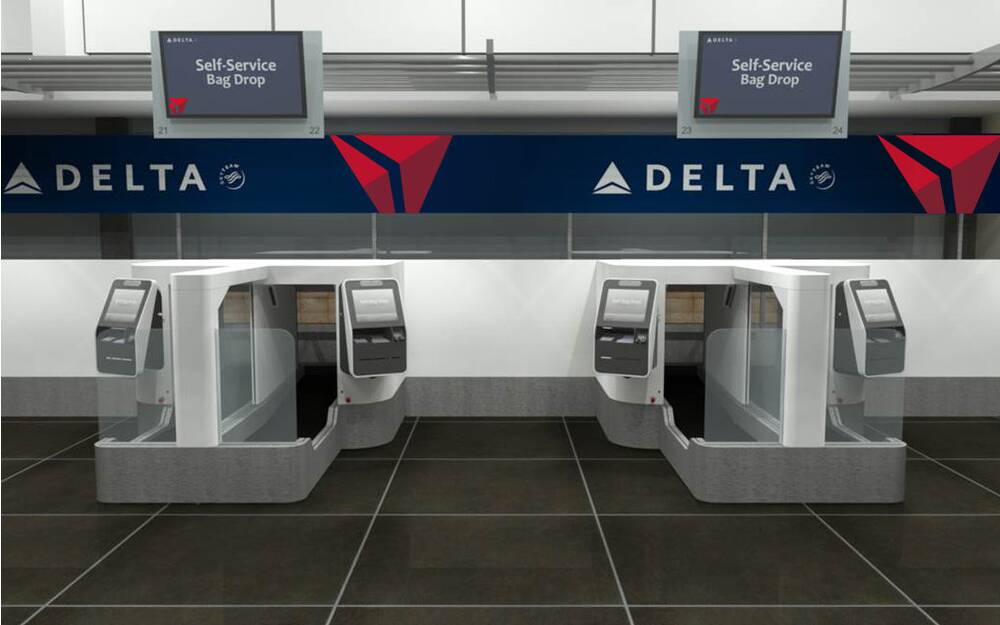 A Rendering Of Delta Air Lines Self Service Baggage Check
