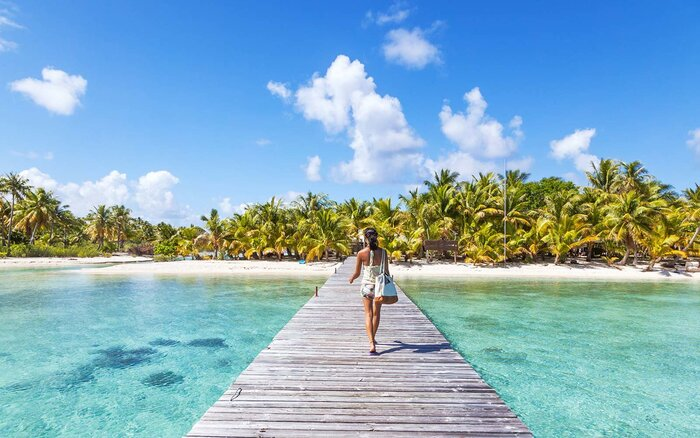 Tourist Walking On Jetty Tikehau Atoll Tuamotu Archipelago French Polynesia Oceania Instagram
