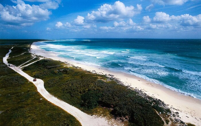 White Sand Beach And Road On The East Coast Of Cozumel Island Quintana Roo
