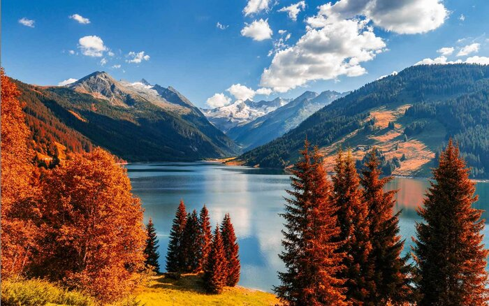 Autumn View With Red Foliage Of Alps Lake In Tyrol Austria