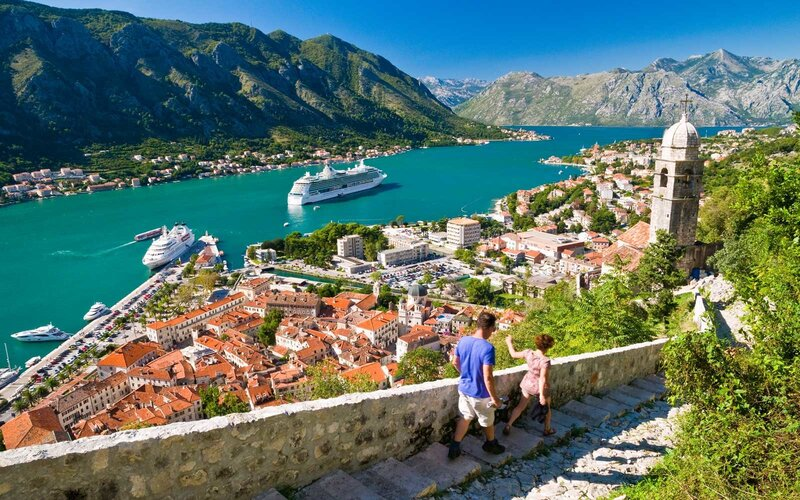 Kotor Montenegro, bay and cruise ships