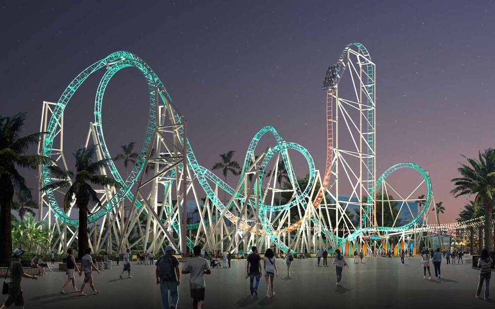 rendering of the hang time dive coaster coming to knotts berry farm in 2018