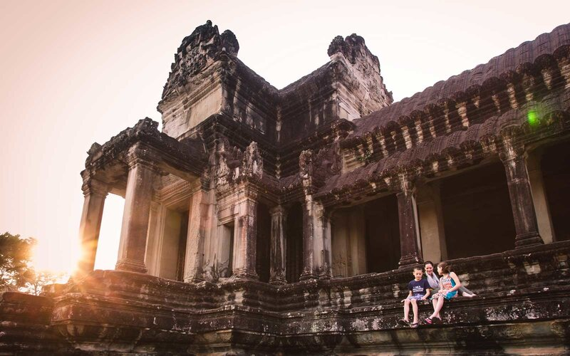 Family in Angkor Wat