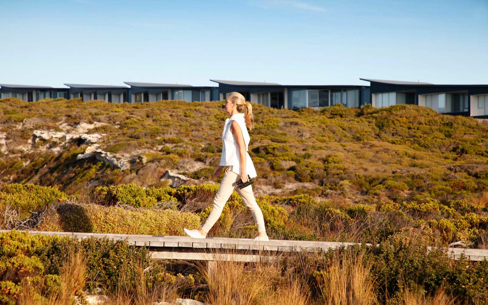 Going for a walk outside of Southern Ocean Lodge