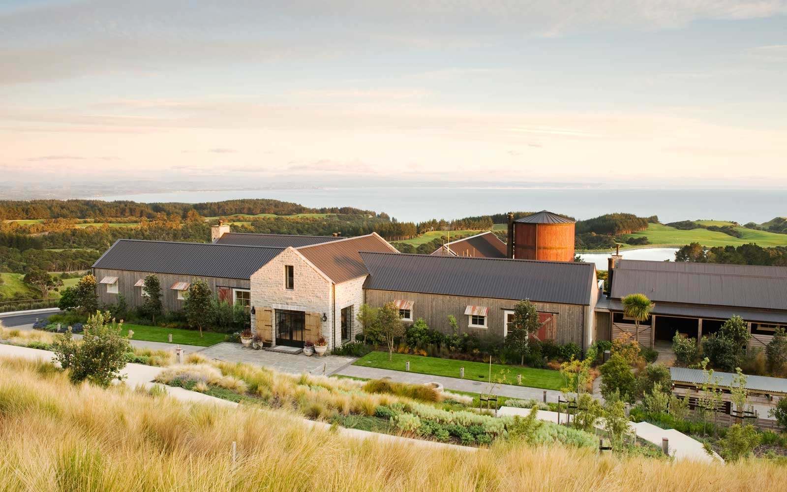 aerial view of The Farm at Cape Kidnappers