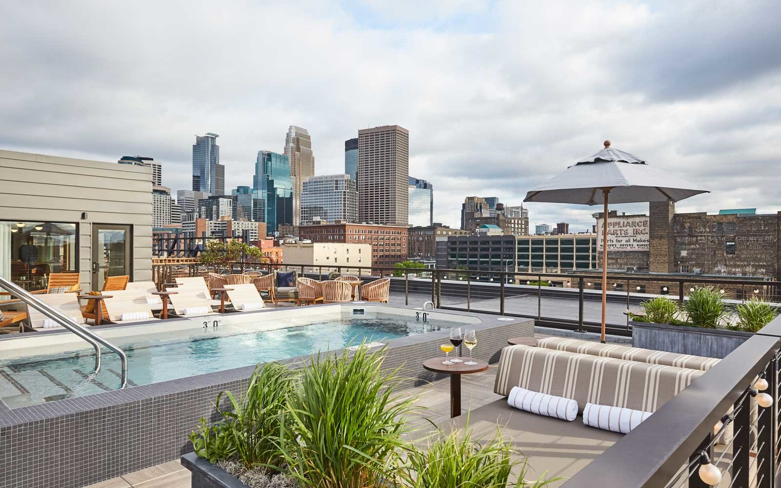 Rooftop pool at the Hewing Hotel