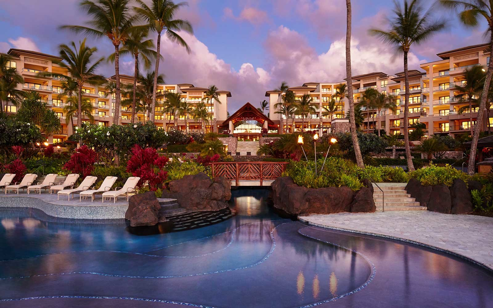Night view of the pool at Montage Kapalua Bay