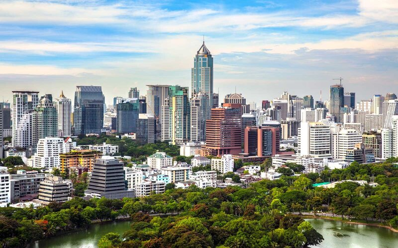 Modern city in a green environment, Suan Lum, Bangkok, Thailand.