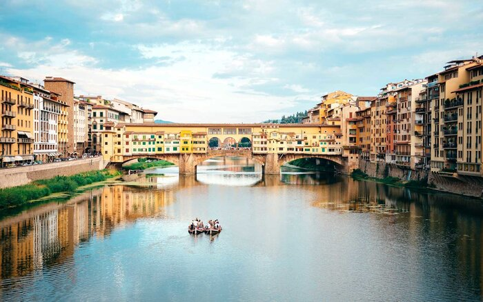 Italy Florence River Arno And Ponte Vecchio