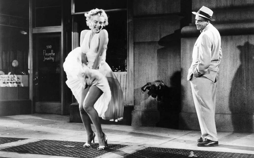 Actress Marilyn Monroe And Actor Tom Ewell On The Set Of Seven Year Itch
