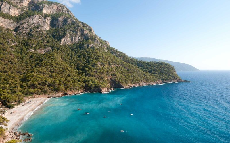 A view looking down on Kabak Beach along the Turkish coast of the Mediterranean Sea.