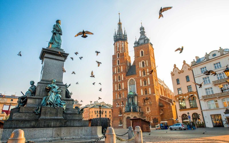 Old city center view in Krakow, Poland