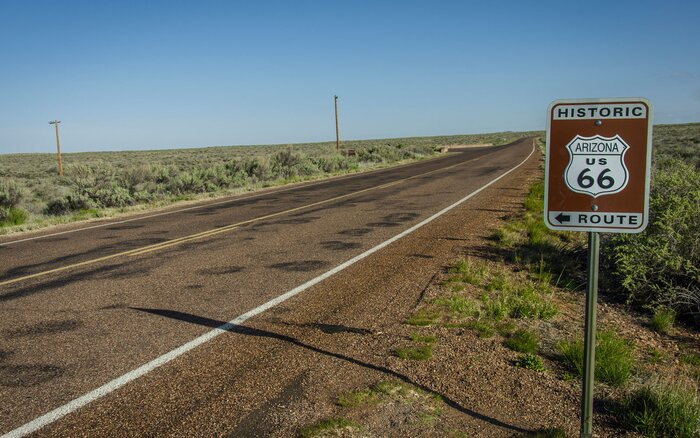 route 66 through the petrified forest national park