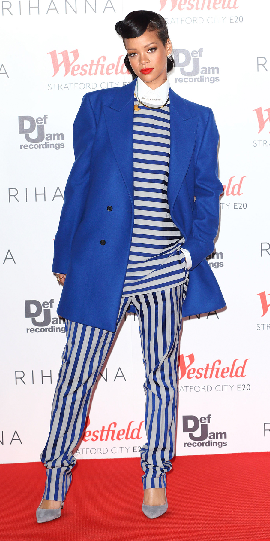 <p>In a Raf Simons coat and an Acne Studios top and pants in London (2012)</p>