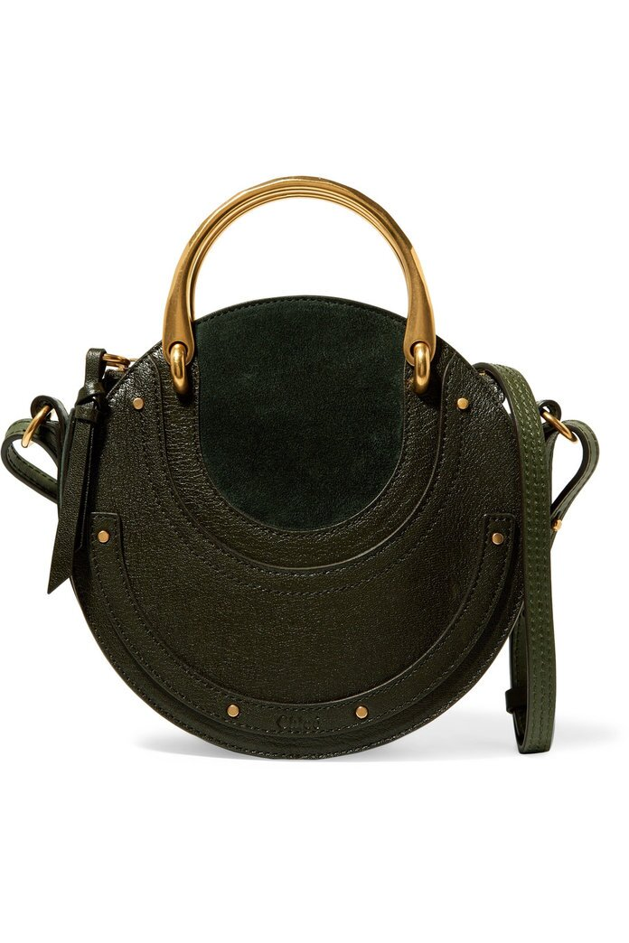 Chloe Pixie suede and textured-leather shoulder bag