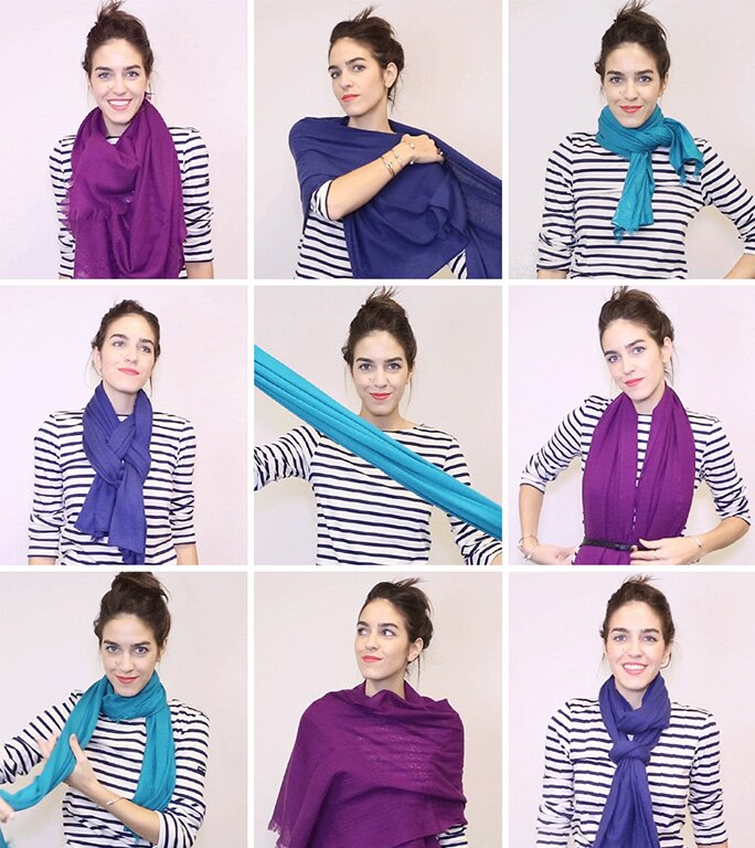 How To Tie A Scarf With Gifs 18 Ways To Tie A Scarf Instyle