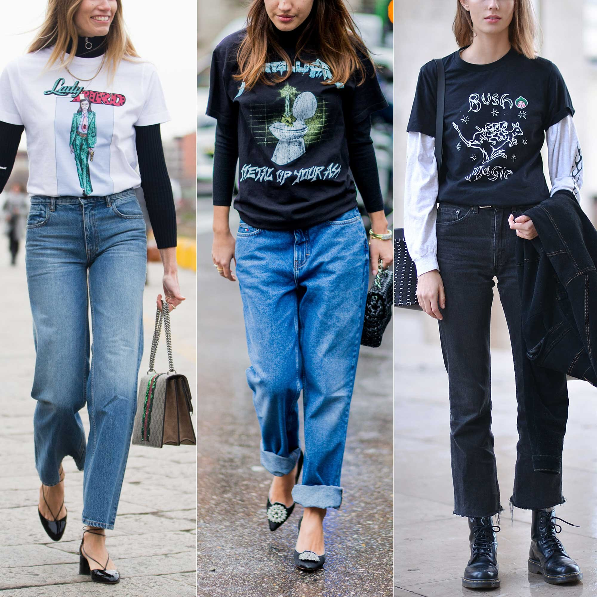 2016 Street Style Trend at Fashion Week  Layering T-Shirts 61813f9e6e