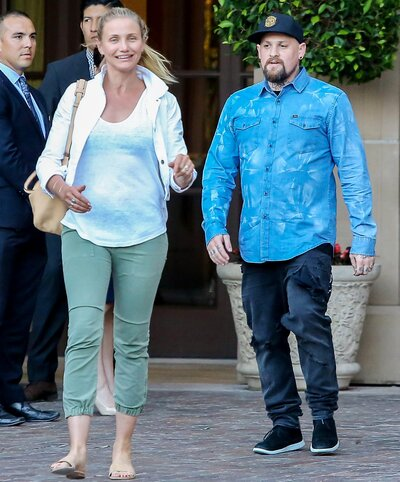 cameron diaz goes makeup free in l a with husband benji madden