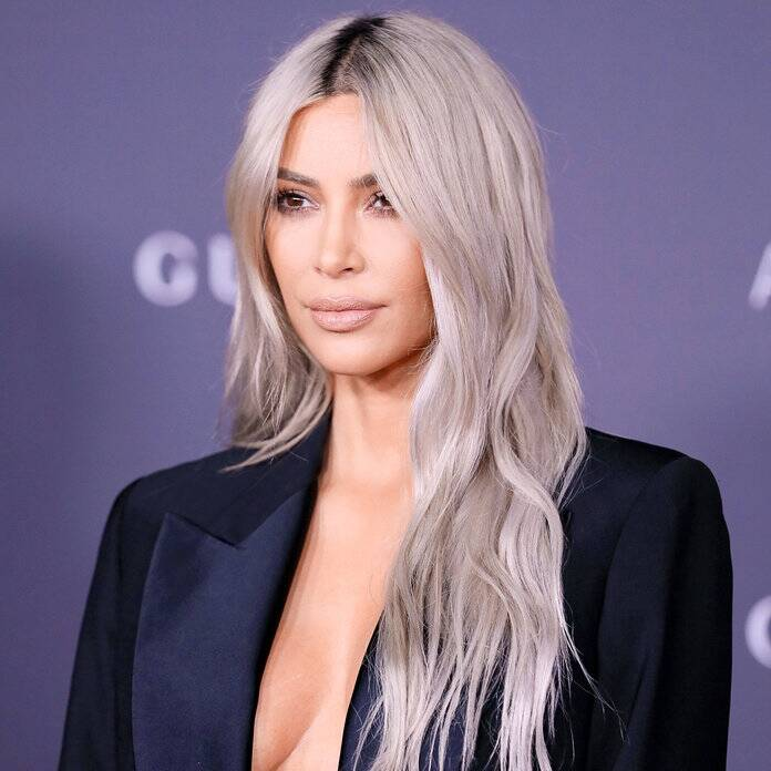 Kim Kardashian Wests Blue Hair Color Instyle