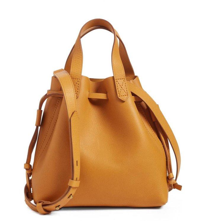 Madewell The Mini Pocket Transport Leather Drawstring Tote MADEWELL