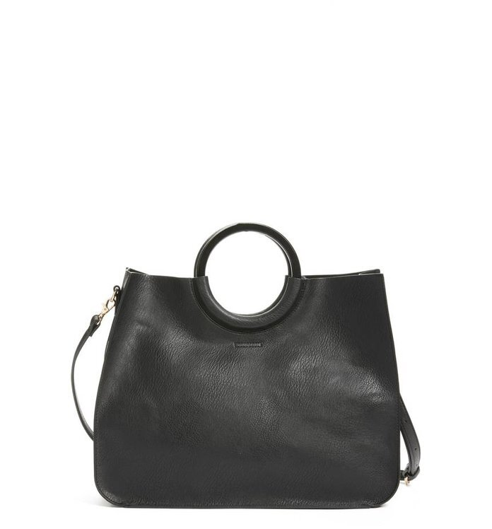BP. Wood Handle Faux Leather Tote