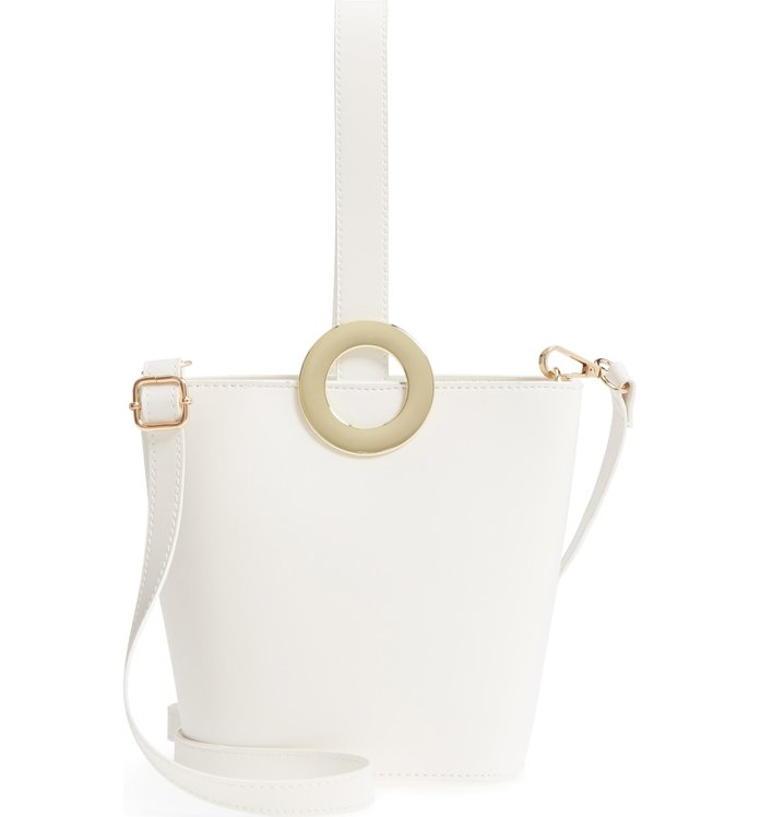 Yorki Structured Faux Leather Bucket Bag