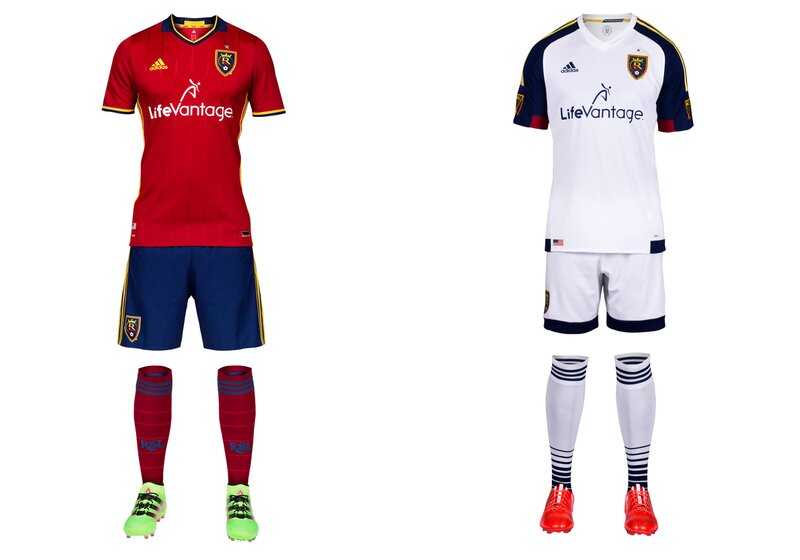 "After six years in all-red, RSL at long last is returning to something resembling its unique, championship-winning look. After claiming the 2009 MLS title in red/claret jerseys (with blue/cobalt sleeves), blue shorts and blue socks, RSL inexplicably opted to become one of several mono-red teams. Bad uniforms and a trio of lost finals followed. If there was a kit curse, consider it reversed with the new home set, which features sublimated pinstripes on a sharp red jersey and a return to the cobalt shorts. RSL is RSL again. Let's hope some variation of ""victory gold"" replaces the all-white secondary kit in 2017."