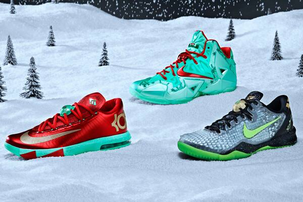 sale retailer d1544 53240 Christmas versions of signature Nike sneakers for, from left  Kevin Durant,  LeBron James