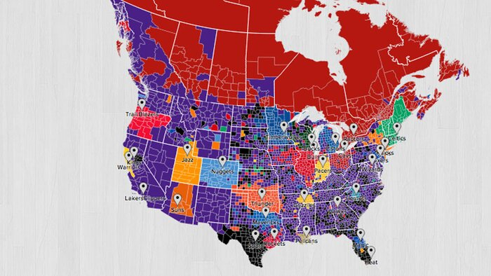 Twitter Fan Map Shows Lakers Are NBAs Most National Team SIcom - Us map nba teams