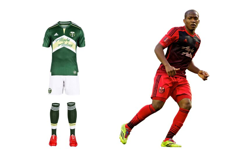 Portland quietly switched crests, from a logo featuring its name to a simpler version focusing on the axe and chevrons (the old logo lives on elsewhere). Few teams wear a badge with no writing, but the Timbers can because they've built such a powerful brand. Only they could wear the new home set, a bold green-and-white offering anchored by the chevrons. They're a bit wide, and the yellow below the collar clutters the shirt, but it's impressive overall. The road kit, released in 2014, is everything a good one should be: distinctive, perhaps edgy, yet connected to the club. In this case, Rose City red.