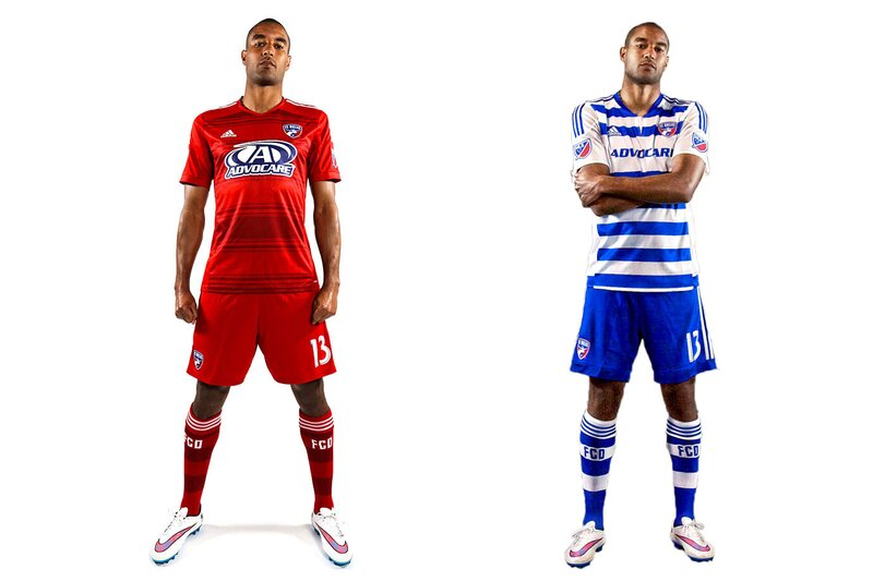 FCD's kits are an example of a good idea, poorly executed. The club made an inspired decision to go with hoops when rebranding in 2005, but the jerseys always let them down. Unnecessary seams, plackets and panels always ruined the shirt. Dallas gave up last year and went with a boring all-red primary. But it stuck with the hoops on the new blue-and-white secondary, where the side panels and sleeves still disrupt the flow. Both blue and white shorts are an option. Our 2016 ideal: a primary jersey with seamless, sleek red and blue hoops. Unique and colorful, but less jarring. Make it happen.