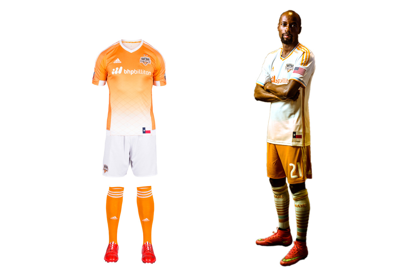 "Houston's club motto is ""Forever Orange,"" and while that remains the cornerstone of the brand, the Dynamo typically add a wrinkle here and there to ensure we're not beaten over the head with it. The new home uniform is a great example. The white shorts and checkered fade on the jersey add the right amount of contrast. On occasion, the Dynamo have worn monochrome both home and away. But there's no need to do so, especially on the road. The balance in the primary kit and the immediately identifiable orange shorts with the secondary set showcase the Dynamo at their best."