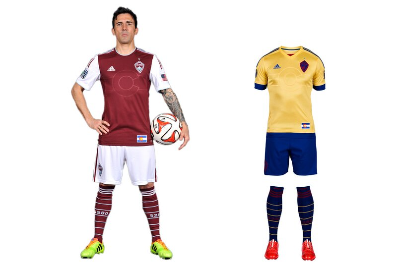 Another club that's bounced from brand to brand (green-and-white, blue-and-black), the Rapids have settled in nicely with the unique but elegant burgundy-shirt, white-shorts combo. The sleeves, which mirror those worn by sister club Arsenal, add a subtle touch of flair. The new away uniform is a prime example of how a secondary kit can be tasteful and connect to a club's brand. Last season's mono blue state-flag set has evolved into a sharp gold-and-blue kit that maintains Colorado's colors and stands out from the crowd. We're not fans of recolored badges—logos should be sacrosanct—but overall it's a winner.