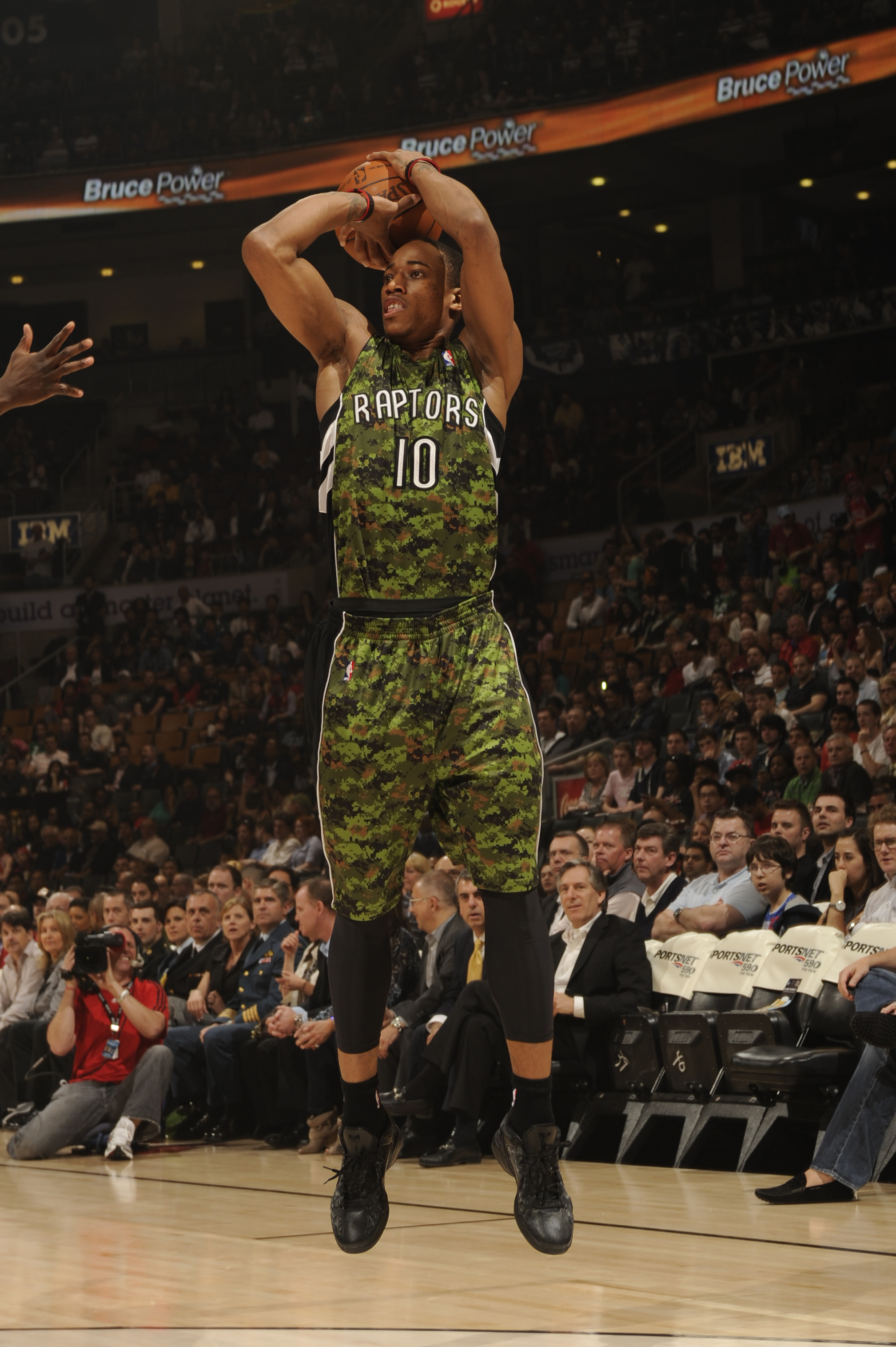 Anyone in the military should be offended by the awful use of the camouflage pattern on these Raptors jerseys. We're willing to bet that the players wish they could just blend in with their surroundings instead of being seen wearing these.