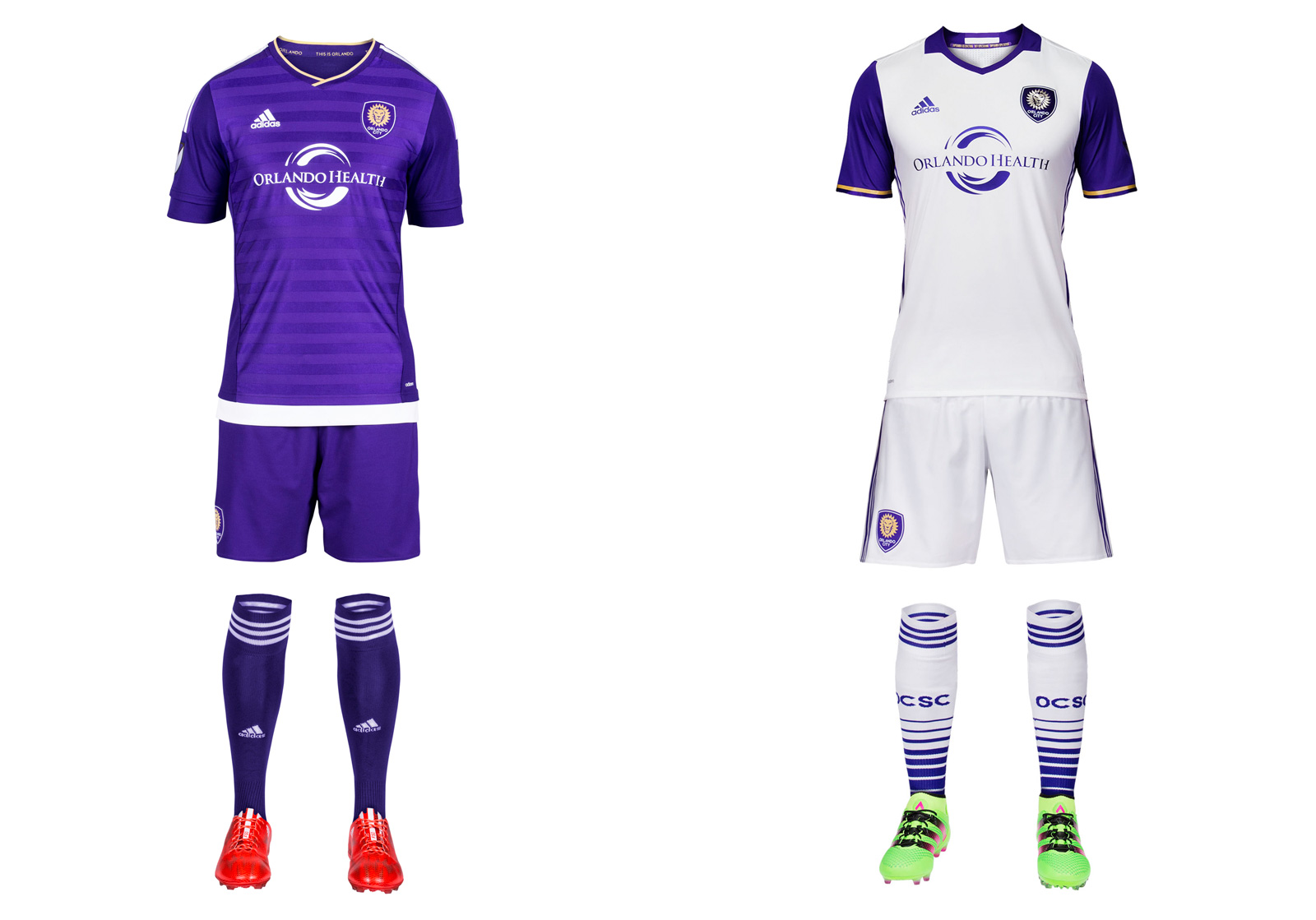 "Purple is the defining feature of Orlando City's brand, but the club blew it during its expansion season by rolling out a plain white away kit that looked too much like all the others. Now there's progress in the form of purple sleeves, which add a welcome bit of color and make the new secondary uniform one that only Orlando could wear. The crest features a ""3D"" lion. The monochromatic home set stays the same. Swap the socks–white at home and purple on the road–and City would be close to perfect."