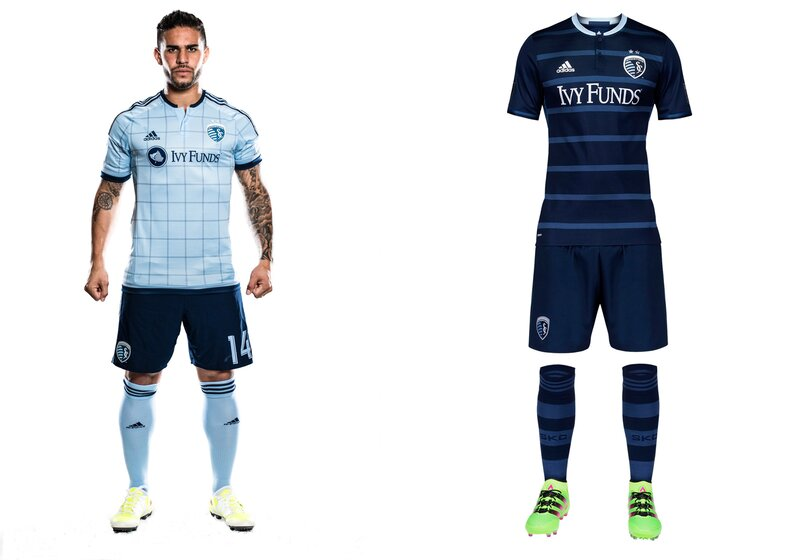 """Uniforms typically run on two-year cycles, meaning Sporting had no choice but to move on from its spectacular hooped 2014-15 away set. The replacement is nice enough and the jersey looks good on its own, but the full kit is a bit bland in comparison. The thin hoops are """"tonal"""" rather than """"Sporting"""" blue. The metallic silver numbers and sponsor logo add a bit of glitz. The checkered home uniform debuted last year and still looks good with the dark blue shorts. SKC also will continue wearing its all-white third kit on occasion."""