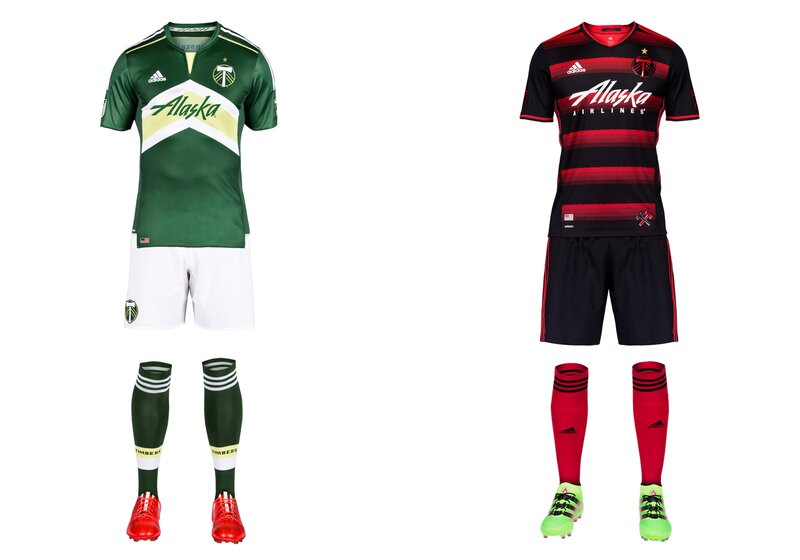 """Portland's """"Rose City Red"""" away uniforms continue to darken, but the overall theme is maintained with the champions' striking new secondary set. The mostly-black jersey (there's more red on the back) features hoops in shades of red complete with a subtle thorn motif. Red socks add a bit of contrast that would be lost if they were black. The green-and-white home kit is the same as last year's except for a revised sponsor logo. For Timbers fans, of course, the best part is the new gold star above the crest."""
