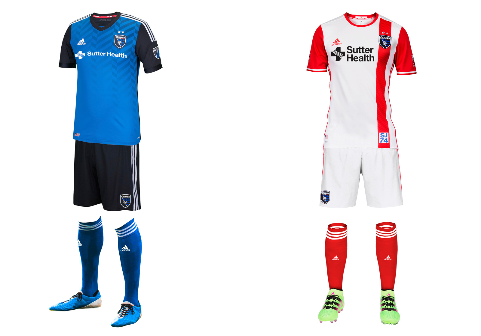 San Jose's 2014 brand refresh now feels finished with the introduction of a much-improved away set that actually features some red, which connects the modern-day Quakes to their 1970s and '80s predecessors. The red stripe, sleeves and socks create a unique, balanced look that ties the club's crest, primary and secondary kits together. There's also a tiny scorpion inside the neck paying tribute to the branding fiasco that was the San Jose Clash. The sharp blue-and-black home uniform carries over from last season with the addition of the Sutter Health logo. The Earthquakes were the last holdout—for the first time, every MLS team has a jersey sponsor.