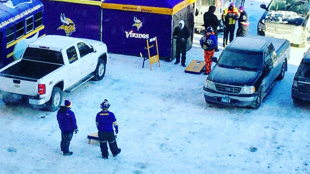 Image result for vikings tailgate in snow
