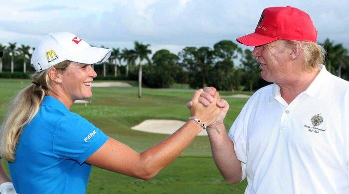 Suzann Pettersengreets President Trump at Trump International Golf Club in 2007.