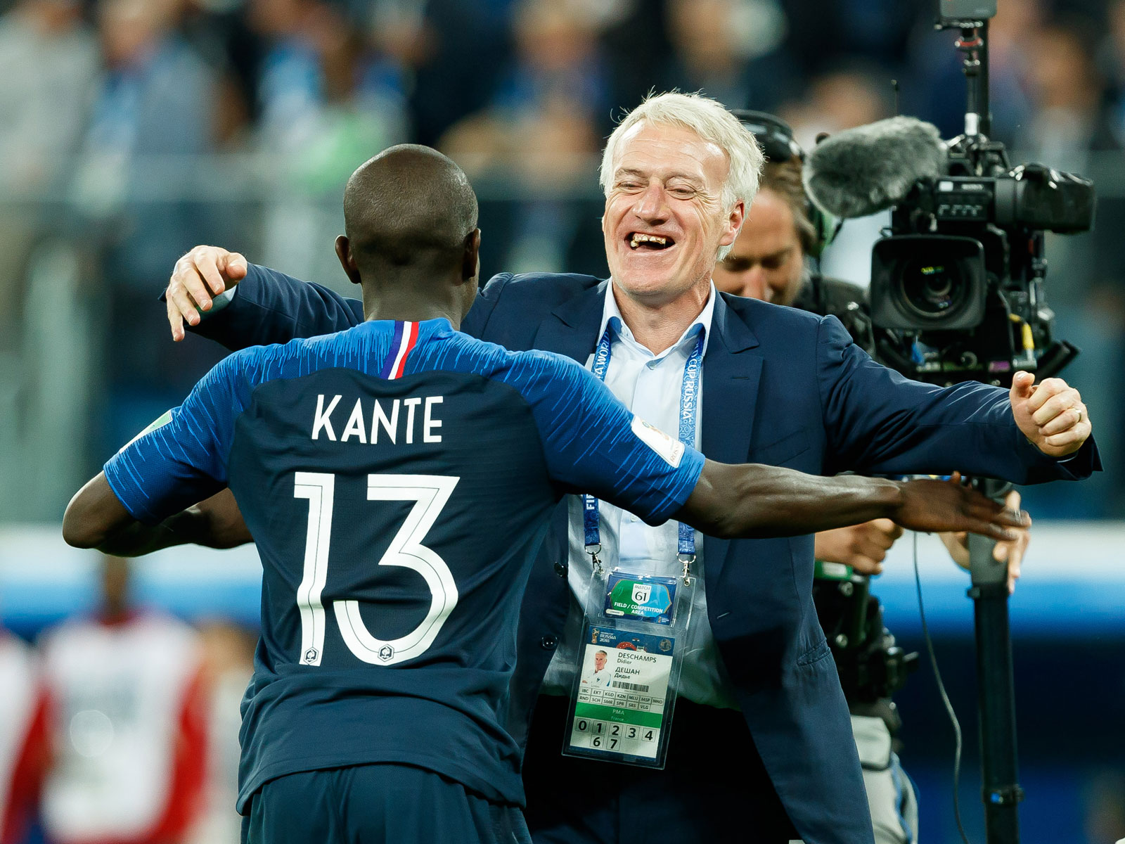 N'Golo Kante and Didier Deschamps celebrate France's win over Belgium in the World Cup